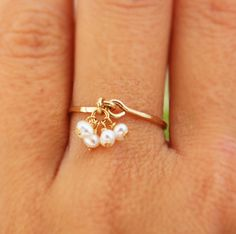 Pearl ring ANY SIZE RING tiny pearl earrings engagement by AAprill, $22.00