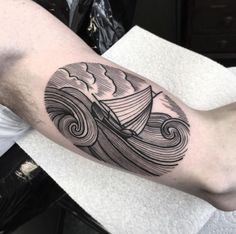 Etched ship at sea by Josh Foulds