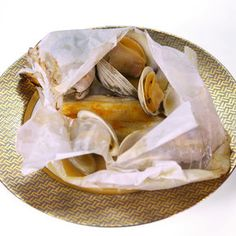 Fish en Papillote (cooked with cherrystones and white wine in parchment paper) as seen on The Chew.
