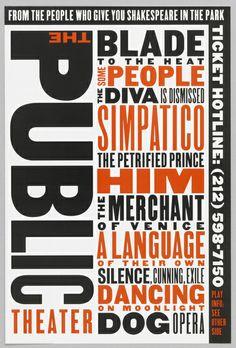 "Flyer, ""Public Theater"", 1994 Paula Scher"