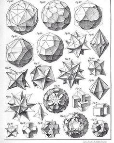 Beading_ Use for Beaded Beads __ Geometry___ Max Bruckner 1906 polyhedra & icosahedron models Doodle Drawing, Sacred Geometry Symbols, How To Draw Sacred Geometry, Geometric Drawing, Math Art, Geometric Designs, Geometric Artists, 3d Geometric Shapes, Art Reference
