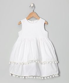 Take a look at this Moonshadow White Pom-Pom Dress - Infant, Toddler & Girls by Print Makers: Kids' Apparel on today! Little Dresses, Little Girl Dresses, Girls Dresses, Flower Girl Dresses, Little Girl Fashion, Fashion Kids, Baby Dress, Kids Outfits, Infant Toddler