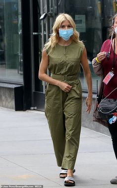 Sienna Miller, Personal Stylist, Classic White, Sliders, Khaki Pants, Jumpsuit, Chic, Mail Online, Daily Mail