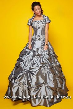Klassisches Abendkleid Ballkleid In Silber Grau