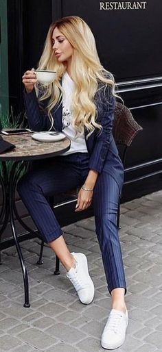 #fall #outfits  women's blue pinstripe blazer and dress pants outfit