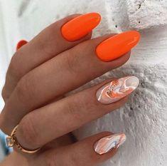 Stylish Nails, Trendy Nails, Cute Nails, Orange Nails, Pink Nails, Orange Nail Designs, May Nails, Glow Nails, Dipped Nails