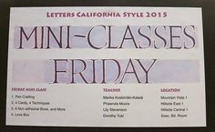 My workshop info :) Letters California Style -conference 2015