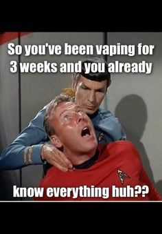 "LOL only funny to those who love Star Trek and Spock The famous ""Vulcan Nerve Pinch"" Star Wars, Star Trek Tos, Vape Memes, Tv Memes, Funny Memes, Starship Enterprise, Dump A Day, Sayings, Travel"