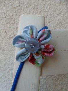 Haarband Haarreifen Blume Blüte Blümchen blau  von Krimskrämerei auf DaWanda.com