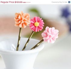 Flower Bobby Pins, Flower Hair Pins, Pink Hair Accessory - Stocking Stuffer Gift Idea. $7.80, via Etsy.