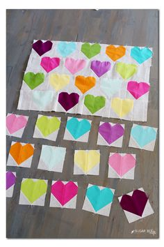 Colorful Modern Heart Quilt Blocks