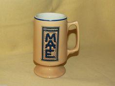 HARRIS MATE MUG TAN BLUE COFFEE TEA CUP AIR FORCE MILITARY AIRPLANE PEDESTAL