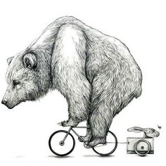 Bear on the bicycle and little rabbit. Style: Black and Gray. Color: Black. Tags: Creative, Amazing, Funny, Weird