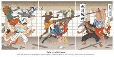 """Jed Henry. Battle in the Bath House. woodcut. 36 x 17""""."""