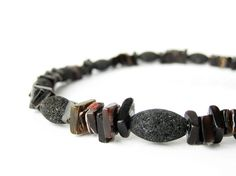 "Men's Surfer Jewelry - Black shell and lava stone necklace for guys. ""Pele""."