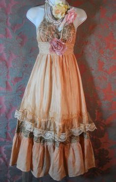 Peach silk dress beige lace ruffles rustic fall  wedding bridesmaid rose fall  vintage   romantic medium   by vintage opulence on Etsy