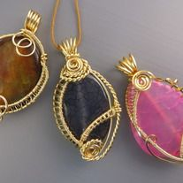 Adorable handmade gemstone pendants in intricate wire weave technique. The gemstones types will vary according to each shipment. Limited edition gemstones. Pendant approximate size: 3cm x 5cm.  Available in only gold wire colour, the wires used are US made, nickel-free, fused with a non-tarnish...