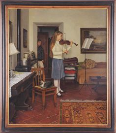 "Feb 8 & 9 Auction. Richard Maury ""Elena"", 1983. #FineArt #Painting #Violin #MorphyAuctions"
