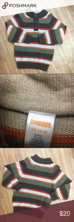 Gymboree Wilderness Lake Striped Sweater Brown 3/4 Gymboree Wilderness Lake Striped Sweater Brown Olive Orange 3/4  Cute sweater from Gymboree's Wilderness Lake line.  Brown, orange, beige and olive stripes.  Very little wash wear or fade.  #wildernesslake #sweater #brown #olive #orange #stripes #striped #stripe Gymboree Shirts & Tops Sweaters