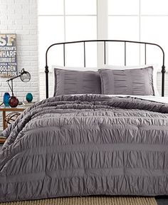 Ruched Stripes Gray 3 Piece Comforter and Duvet Cover Sets - Dorm Bedding - Bed & Bath - Macy's