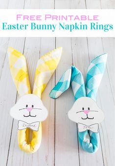 Easter Bunny Napkin Ring Free Printable How to style napkins to look like Easter Bunnies for an Easter dinner table. Easter Table Settings, Easter Table Decorations, Easter Crafts For Kids, Easter Ideas, Easter Wreaths, Easter Bunny, Napkin Rings, Napkins, Easter Dinner