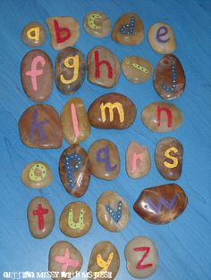 Alphabet stones...@Ashlyn Vonderschmidt we should try these for the boys since they love rocks :)