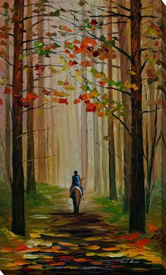 Autumn Stroll on a Horse by Leonid Afremov Painting Print on Wrapped Canvas