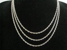 SALE 60 Rope Chain Necklace.  Rich Silver Finish with Vintage Necklaces, Rope Necklace, Rope Chain, Polyvore, Silver, Jewelry, Jewlery, Money, Bijoux
