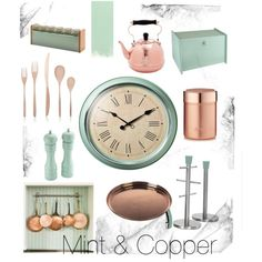 Mint & Copper Kitchen by rosalyn-potts on Polyvore featuring polyvore, interior, interiors, interior design, home, home decor, interior decorating, Parlane, Barista & Co and Old Dutch