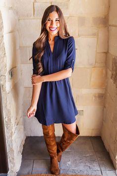 Navy Pleated V Neck Dress - Dottie Couture Boutique