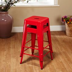Bistro Counter Stool in Red (Set of 2) - Kitchen Under $75 on Joss  Main