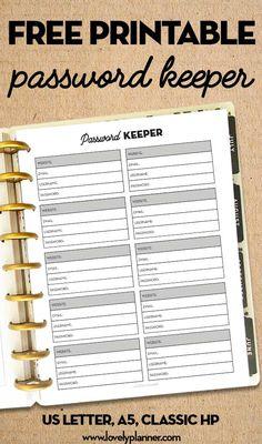 Free Printable Password Tracker - Lovely Planner