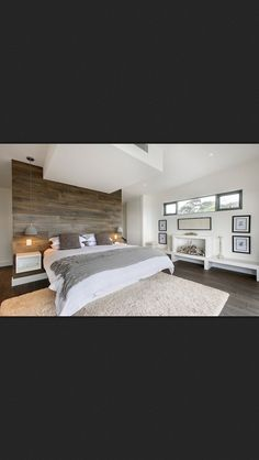 I love the idea of putting a feature wood flooring on the wall! for master