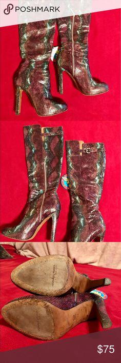 Donald J Pliner 123 DION Purple Snake Knee Boots Beautiful purple mottled snake tall boots. Zip on inside calf. Donald J. Pliner Shoes Heeled Boots