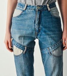 ru year: 2017 brand: n/a why: This is a way to combine different denim pieces that i've never seen before! I like the mismatching pocket colors Оригинально! Denim Fashion, Look Fashion, Fashion Details, Fashion Outfits, Fashion Design, Shorts Jeans, Diy Jeans, Denim Ideas, Mode Style