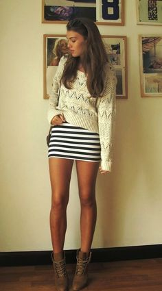 White knit sweater, marine blue striped skirt