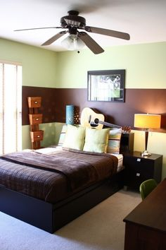 green and brown paint idea--i don\'t like the colors but I like ...