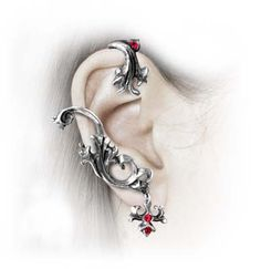 What a beautiful unique piece of jewelry. By Alchemy Gothic, These handcrafted earrings are imported from England, Made of Fine English Pewter, and contain Swarovski crystal. Perfect for those who like things a little unique!