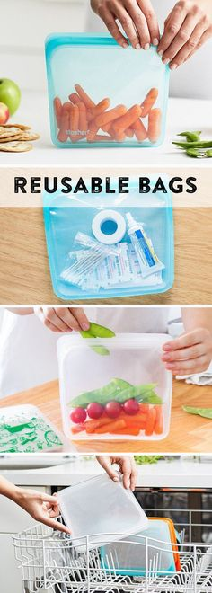 No more throwaway plastic. These reusable silicone bags hold way more than snacks—and they go from pantry to freezer, microwave, and dishwasher. http://amzn.to/2u2NZAW