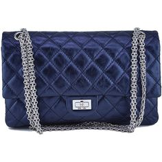 Pre-Owned Chanel Metallic Navy Blue Calf 226 Classic Reissue 2.55 Flap... (5,585 BAM) ❤ liked on Polyvore featuring bags, handbags, metallic navy blue, chanel, chain strap purse, navy purse, navy blue handbags and chanel handbags