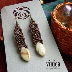 vinica / Alaverdi - earrings - jaspis - micromacrame