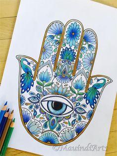 Hand Drawn Adult Coloring Page Print Hamsa Eye by MauindiArts