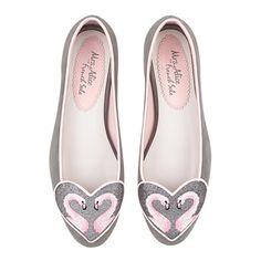SUEDE FLAMINGO HEART ballet pumps, Love Heart Grey