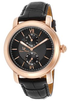 Lucien Piccard Watches Spiga Black Genuine Leather and Dial 40026-RG-01,    #LucienPiccard,    #40026RG01,    #Dress