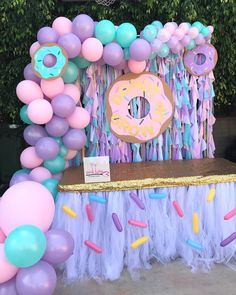 Donut 🍩 Grow Up candy table setup. Desserts provided by customer Sprinkles Tutu Table skirt Donut wood props , backdrop and balloon… 2nd Birthday Party For Girl, Donut Birthday Parties, Girl Birthday Themes, Donut Party, Birthday Party Decorations, Birthday Ideas, Birthday Table, 10th Birthday, Donuts
