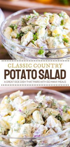 A refreshing salad idea that you can make ahead! Classic Country Potato Salad is a summer favorite. With freshly chopped herbs and hints of lemon, this side dish is a total showstopper that pairs with so many summer meals. Whip up this recipe for any party or potluck! Picnic Side Dishes, Best Side Dishes, Side Dish Recipes, Easy Homemade Recipes, Healthy Salad Recipes, Veggie Recipes, Vegetarian Salad, Potato Recipes, Soup And Salad
