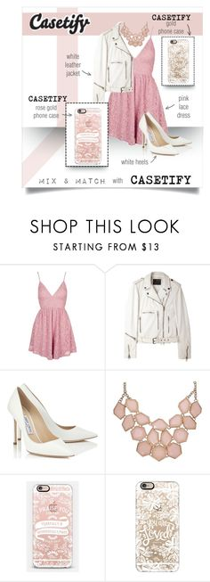 """""""casetify x rose"""" by ravinap on Polyvore featuring Topshop, R13, Jimmy Choo and Casetify"""