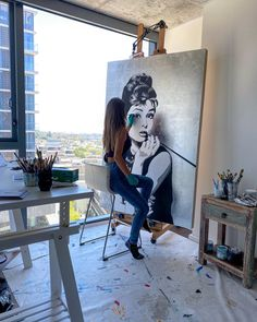 #audreyhepburn painting is getting closer to finished! How do you like the silver leaf so far? HAPPY FRIDAY!!! . . . . #art #artstudio #blackandwhite #luxury #luxuryliving #womenartists @only_women_artists #silverleaf #artwork