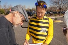 The local manager of Lowe's in Louisville, CO wouldn't accept Halloween cards from their customers.  These bees were told to send the cards to the corporate headquarters. Photographer: Greg Robinson
