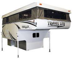Travel Lite announces the 2013 Travel Lite pop-up truck camper. Here's Travel Lite's latest soft side story. Camper Trailer Tent, Slide In Truck Campers, Truck Bed Camper, Truck Tent, Pickup Camper, Rv Truck, Truck Camping, Motorcycle Camper Trailer, Mini Camper